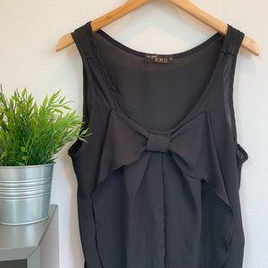 Tops - Sheer Black Bow Blouse